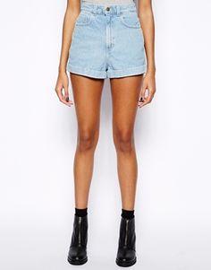 American Apparel High Waist Denim Shorts