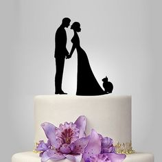 wedding cake topper with cat, bride and groom silhouette | walldecal76 - Wedding on ArtFire