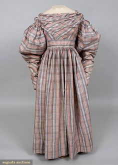 Augusta Auctions, November, 2007 -Tasha Tudor Historic Costume Collection, Lot 43: Woven Plaid Day Dress, 1830s
