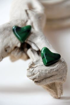 Dark Green and Black Heart Shaped Studs by SilverburnStudios, €12.00
