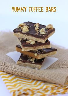 Yummy Toffee Bars.  A cookie-like base topped with hardened chocolate and chopped nuts, these suckers are good!