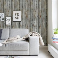 Vintage wood peel & stick fabric wallpaper. This repositionable wallpaper is designed and made in our studios in New Jersey. The designs are printed onto an adhesive backed fabric that can be removed,