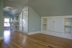 attic built-ins and bathroom - Love the Wood Color and Wall together