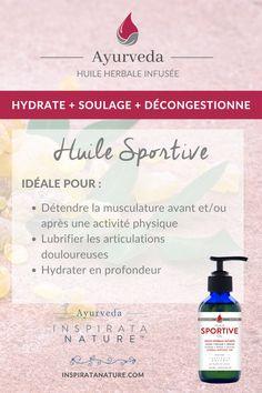 Huile infusée de plantes aromatiques et conçue pour détendre la musculation avant et/ou après une activité physique. #sport