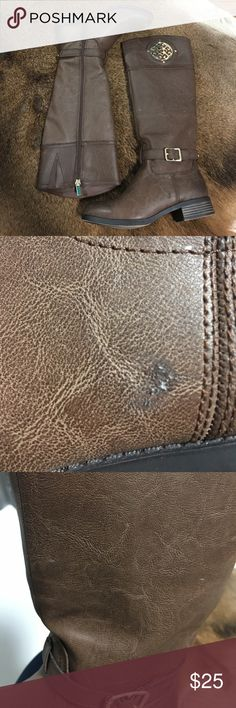 Brown boots Brown colored riding boots with a pretty gold madalion . Sit just below the knee with zipper up in the inside. Never worn. They do have a couple flaws. Please see pics 2& 3. Ordered online and they came this way. Cato Shoes Winter & Rain Boots
