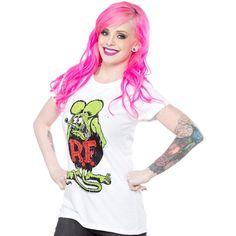RAT FINK GIRLY TEE WHITE $25.00 #ratfink #edroth #lowbrow #rockabilly