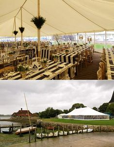 Interior and exterior views of a traditional wedding tent with panoramic windows all round and glorious views of the sea Marquee Wedding, Tent Wedding, Tablecloths, Traditional Wedding, Interior And Exterior, Wedding Ideas, Inspiration, Beautiful, Style
