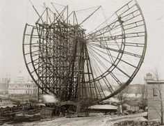 Building of first ferris wheel....Chicago 1983