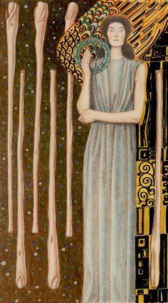"""Atanas A. Atanassov (b.1960 ,Bulgarian) : Golden Tarot of Klimt , 78 cards : 22 Major Arcana and 56 Minor Arcana , Size12x6,6 cm . """"Minor Arcana - 6 of Wands"""""""