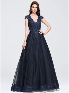Ball-Gown V-neck Floor-Length Tulle Prom Dress With Beading Appliques Lace (018075969) - JJsHouse