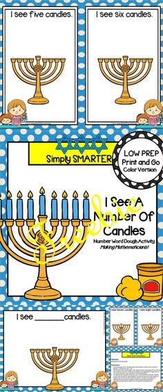 Are you looking for a LOW PREP math activity for pre-k, kindergarten, or first grade? Then enjoy this FREE number resource which is comprised of a color version of a HANUKKAH themed COUNTING dough activity.  Children will roll out play dough and create the number of candles indicated.  They will work on reading number words by placing the dough candles on the menorah on the play dough mat during this activity.  There is an additional mat to help you provide differentiation for your students.