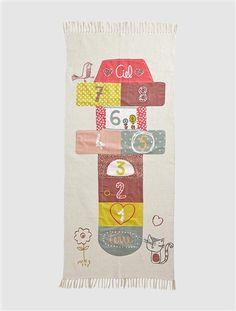 Hopscotch Rug WHITE MEDIUM SOLID WITH DESIGN - vertbaudet enfant