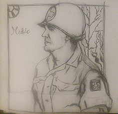 """Combat medic with the insignia of the Texas-Oklahoma division, also nicknamed the """"Tough 'Ombres. Texas And Oklahoma, Combat Medic, Spirituality, Medical, Division, Drawings, Image, Art, Medical Doctor"""