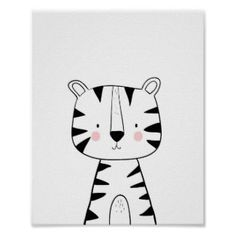 Tiger Nursery Print Black and white modern zoo