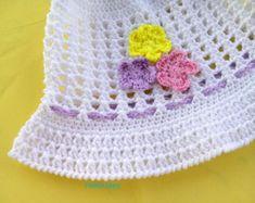 crochet / hat / flower / children / ideas / yarns / hooks / stitches / children / ideas / beautiful / gift / crafts / summer / sun hat / spring / cotton / handmade / etsy / white / purple / lilac / yellow / pink