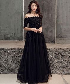 Elegant Black Tulle Lace Long Prom Dress, Black Tulle Evening Dress 525 · Prettyqueenprom · Online Store Powered by Storenvy Trendy Dresses, Elegant Dresses, Beautiful Dresses, Nice Dresses, Fashion Dresses, Formal Dresses, Long Dresses, Long Gowns, Black Wedding Dresses