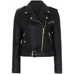 French Connection Generation Faux Leather Biker Jacket, Black