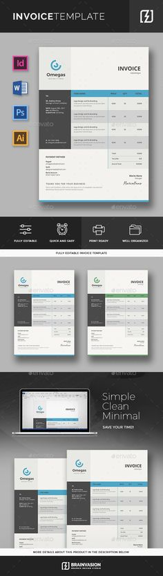 Invoice Clean Invoice Word Template with super modern and Corporate     This invoice template has MS Excel Version with au      Invoice Templates  Excel   Pinte