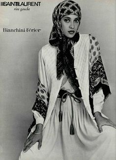 YVES SAINT LAURENT 1976 beauty hijab, ideas for photo shoots, muslim, modest clothing, hijab style, fashion, хитжаб