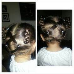 Crisscross hairstyle into braided pigtails. Cute toddler hairstyle