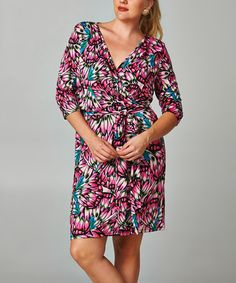 Love this Black & Fuchsia Petal Wrap Dress - Plus by Christine V on #zulily! #zulilyfinds