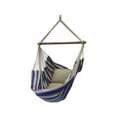 Hangstoel Nautica Azuur. € 89,99 Hangstoel, nautisch blauwe kleuren gecombineerd met de natuurlijke kleur van katoen. Topkwaliteit uit Brazilië.