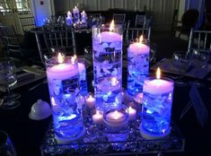 Floating Candle Centerpiece Idea for Bar Mitzvah & Bat Mitzvah Parties Bat Mitzvah Themes, Galaxy Wedding, Starry Night Wedding, Galaxy Theme, Galaxy Art, Prom Themes, Celestial Wedding, Space Wedding, Sweet 16 Parties