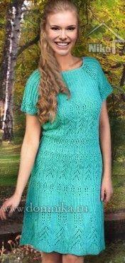 Ажурное вязаное платье красивые узоры спицами