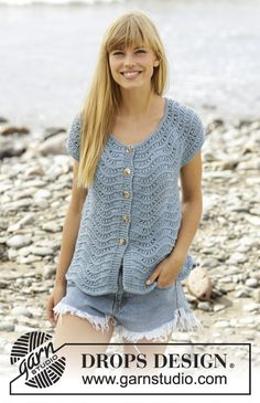 """Shore Line Cardigan"" - a lovely cardigan with short sleeves and wave pattern. Free #knitting pattern online."