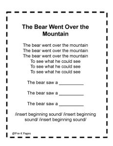 """Use the song """"The Bear Went Over the Mountain"""" in a game that builds phonological awareness activity for preschool, pre-k, and kindergarten. Zoo Activities Preschool, Bears Preschool, Preschool Winter, Preschool Lessons, Phonological Awareness Activities, Pre K Pages, Bear Theme, Kid Books, Play Ideas"""