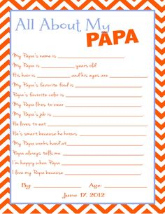 Free All About My Papa Questionnaire for the kids to fill out for Fathers Day!