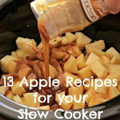 13 Apple Recipes for your Slow Cooker - Crockpot Recipes Slow Cooker Desserts, Slow Cooker Apples, Crock Pot Desserts, Crock Pot Slow Cooker, Crock Pot Cooking, Cooking Recipes, Budget Cooking, Cooking Steak, Crock Pots