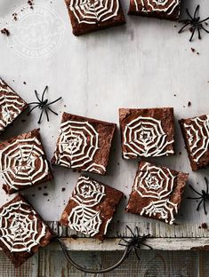 Elizabeth Blau's Spiderweb Brownies Recipe - - The founder of Blau + Associates Restaurant Group makes a recipe crawling with fun. Halloween Brownies, Halloween Desserts, Comida De Halloween Ideas, Halloween Fingerfood, Dulces Halloween, Postres Halloween, Halloween Party Snacks, Halloween Dinner, Halloween