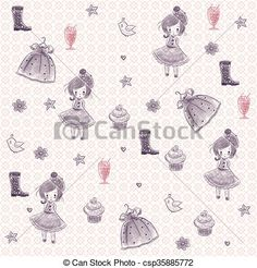 Stock Illustration - Little girl accessories - stock illustration, royalty free illustrations, stock clip art icon, stock clipart icons, logo, line art, pictures, graphic, graphics, drawing, drawings, artwork
