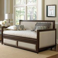 Grandover Wood & Upholstered Daybed Only in Cream / Espresso by Fashion Bed Group - with Optional Pull-Out Trundle