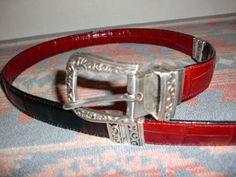 Vintage-Red-Black-Reversible-CONCHO-MENS-womens-Western-Cowboy-BELT-Size-36