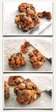 "Organic ""No Bake"" Energy Bar Recipe! 2 oz raw almonds 2 oz raw pecans 2 tbsp raw honey 2 tbsp nut butter of choice 2 tbsp mini chocolate chips dash of sea salt (not low oxalate) Organic Recipes, Raw Food Recipes, Snack Recipes, Cooking Recipes, Healthy Treats, Healthy Baking, Healthy Soda, Healthy Cookies, Healthy Desserts"