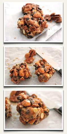 "Organic ""No Bake"" Energy Bar Recipe!  2 oz raw almonds   2 oz raw pecans   2 tbsp raw honey  2 tbsp nut butter of choice  2 tbsp mini chocolate chips  dash of sea salt"