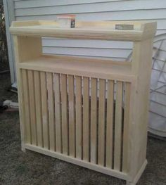 Wood Radiator covers 2 shelves, i would add a thin plywood with foil on 1 side or that foam board with foil for hot atticts, all of this for a plug in electric oil filled radiator that can only go in 1 place Diy Radiator Cover, Radiator Shelf, Repurposed Furniture, Home Furniture, Home Radiators, Kids Room Design, Home Organization, Interior Design Living Room, Home Projects