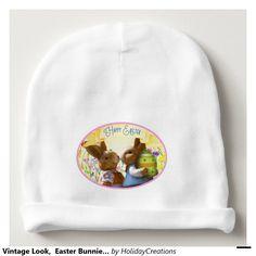 Vintage Look,  Easter Bunnies Beanie Hat Baby Beanie