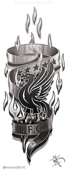 Liverpool FC Arm/leg Tattoo design concept by Liverpool Fc Badge, Liverpool Bird, Liverpool Fc Champions League, Liverpool Football Club, Liverpool Poster, Chelsea Liverpool, Manchester United, Liverbird Tattoo, Tattoo Ideas