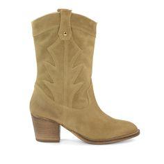 Hoge western boots beige