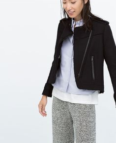 FRAYED WOOL JACKET WITH ZIPPER