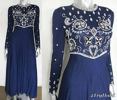 VINTAGE 90S NAVY BLUE & PLATINUM SEQUINED BEJEWELED EVENING DRESS sz XS