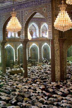 Prayer inside the shrine of Imam Hussein