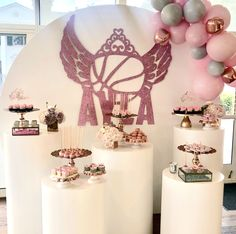 Pink and silver Bat Mitzvah dessert display by Sweet E's Bake Shop and Candy Bar Couture