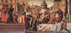 Vittore Carpaccio (Italian 1465–1525/1526) [Renaissance, Venetian School] St. George Baptizing the Selenites, 1507. Tempera on canvas, 141 x 285 cm, Scuola di San Giorgio degli Schiavoni, Venice.