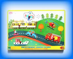 TWÓJ POMYSŁ NA PREZENT-  PUZZLE Z DŹWIĘKIEM POJAZDY Zabawka, która ucieszy każdego małego człowieka a przy okazji rozwija u dziecka motorykę i umiejętność obserwacji i kojarzenia faktów. Dodatkową atrakcją są dźwięki pozjadów po włożeniu klocka we właściwe miejsce.