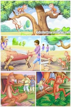 The Carpenter and the Monkey Story with illustration The Effective Pictures We Offer You About Short Stories cartoon A quality picture can tell you many things. You can find the most beautiful picture Birbal Stories, English Moral Stories, Moral Stories In Hindi, English Story, English Vinglish, Small Stories For Kids, Picture Story For Kids, Moral Stories For Kids, Kids Story Books