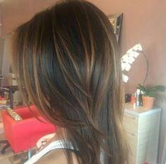 Caramel Balayage on Dark Brown Hair Hair Lights, Light Hair, Dark Brown Hair With Caramel Highlights, Hair Highlights, Chunky Highlights, Color Highlights, Ombre Hair, Balayage Hair, Bayalage